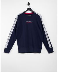 Hollister Chest And Side Tape Logo Sweatshirt - Blue