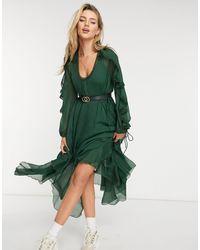 ASOS Drape Ruffle Midi Dress With Lace Insert And Tassle Detail - Black