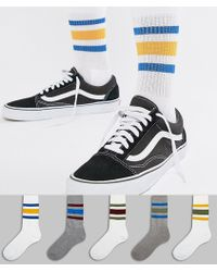 ASOS - Sports Style Socks With Retro Wide Stripes 5 Pack - Lyst
