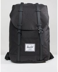 Herschel Supply Co. Mochila negra con correas engomadas Retreat - Negro