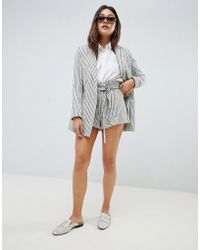 ASOS - Casual Frill Stripe Short Co Ord - Lyst