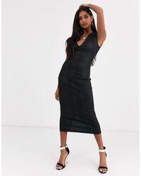 ASOS Snake Leather Look Midi Dress - Black