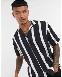 Pull&Bear Черно-белая Рубашка В Вертикальную Полоску -черный