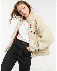 Goosecraft Teddy Biker Jacket With Embroidered Patches - Natural