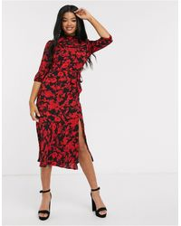 Oasis Floral Print Midi Dress With Puff Sleeves Red