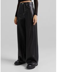 Bershka Wide Leg Faux Leather Dad Trouser With Contrast Seam - Black