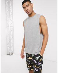 ASOS Lounge Pyjama Short And Singlet Set With Dinosaur Print - Black