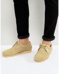 Clarks - Weaver Suede Shoes In Beige - Lyst