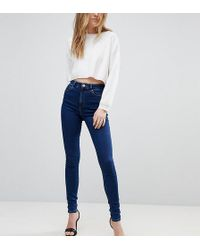 ASOS - Asos Design Tall Ridley High Waist Skinny Jeans In Deep Blue Wash - Lyst