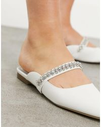 London Rebel Bridal Pointed Flat Mules With Embellishment - White