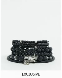 Reclaimed (vintage) Inspired Bead And Chain Bracelet Pack - Black