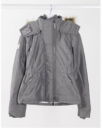 Superdry Светло-серая Куртка С Капюшоном -серый