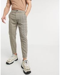 Pull&Bear Check Trousers - Brown