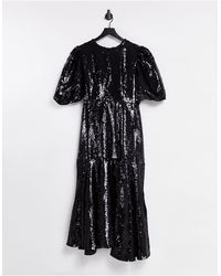 Sister Jane Sequin Midi Dress With Puff Sleeves - Black