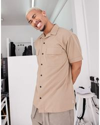 Jack & Jones Бежевая Рубашка В Стиле Милитари С Карманами И Короткими Рукавами Core-светло-коричневый