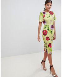 ASOS DESIGN - Yellow Floral Midi Wiggle Dress - Lyst