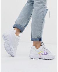 Fila Disruptor Ii Script - Witte Sneakers - Zwart