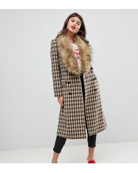 UNIQUE21 Oversized Car Coat In Yellow Check With Faux Fur Collar And Cuffs