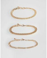 ASOS Vintage Style Bracelet Chain Pack In Gold Tone - Metallic