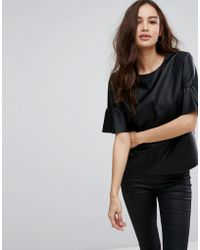 ONLY - Leather Look Top With Ruffle Sleeves - Lyst