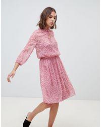 Ichi Floral High Neck Dress - Pink
