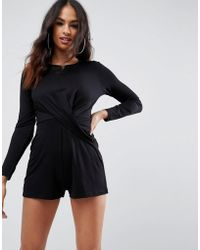 1af60e9ce51 ASOS - Asos Jersey Romper With Knot Front Detail - Lyst