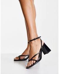 Bershka Mid Heeled Sandal With Square Toe - Black