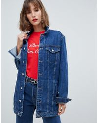 Mango Longline Denim Jacket - Blue