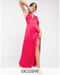 Flounce London Ярко-розовое Атласное Платье Макси Асимметричного Кроя -розовый