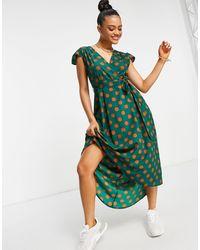 AX Paris Платье Мини В Горошек С Запахом -многоцветный - Зеленый
