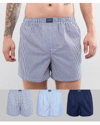 Polo Ralph Lauren - 3 Pack Woven Boxers In Blue Stripe/navy Gingham/navy Solid - Lyst
