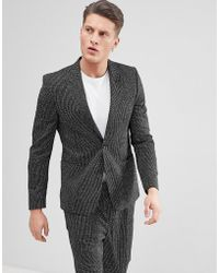 ASOS Asos Skinny Suit Jacket In Black And White Vertical Stitch