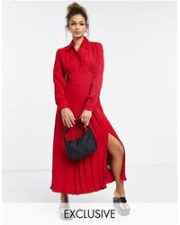 Ghost Claudette Dress With Long Sleeves And Side Split - Red