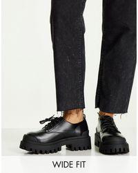 ASOS Черные Туфли Для Широкой Стопы На Массивной Плоской Подошве И Шнурках - Черный