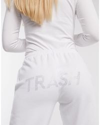 Skinnydip London X Jade Thirlwall Joggers With Trash Crystal Slogan Co-ord - White