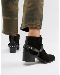 Hudson Jeans London Suede Western Ankle Boots - Black