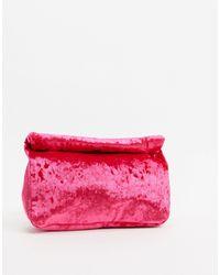 ASOS Velvet Roll Top Clutch - Pink