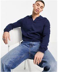ASOS Knitted Cotton Notch Neck Polo - Blue