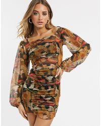 New Girl Order Облегающее Платье С Принтом И Сборками -мульти - Коричневый