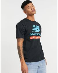 New Balance T-shirt nera con logo grande - Nero