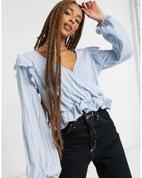 Monki Moria Full Sleeve Ruffle Shoulder Blouse - Blue
