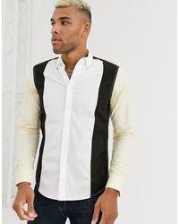 ASOS Oversized Poplin Overhemd Met Gestikte Vlakken - Meerkleurig