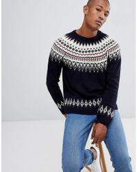 ASOS DESIGN - Asos Fairisle Wool Mix Sweater In Navy - Lyst