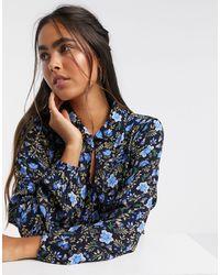 Y.A.S Camicia a fiori con fondo con volant - Blu
