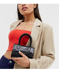 ASOS Micro Grab Bag With Curved Flap And Detachable Strap - Black