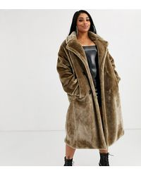 ASOS Asos Design Curve Plush Faux Fur Maxi Coat With Seam Detailing In Grey - Gray