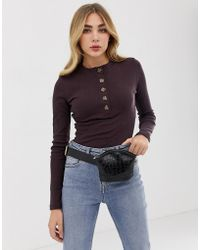 5654a4e929 Missguided - High Neck Long Sleeved Button Down Body In Chocolate - Lyst