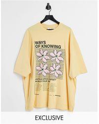 Collusion Желтая Oversized-футболка С Принтом «ways Of Knowing» -кремовый - Многоцветный
