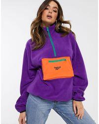Reebok Фиолетовый Свитшот С Воротом На Молнии - Пурпурный