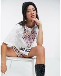 Love Moschino Crop top bianco con cuore leopardato e logo